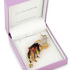 Jon Richard - Multicoloured peacock crystal and enamel brooch