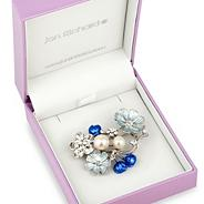 Blue enamel flower and pearl cluster brooch