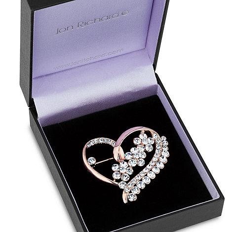 Jon Richard - Rose gold and crystal flower heart brooch