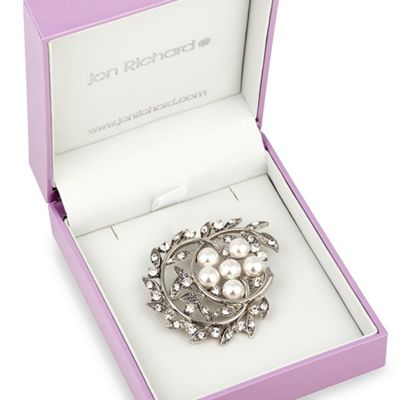 Pearl Flower And Crystal Crest Brooch