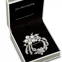 Jon Richard - Pearl and crystal floral wreath brooch
