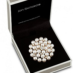Jon Richard - Pearl and crystal cluster dome brooch
