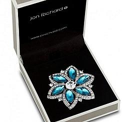 Jon Richard - Blue crystal surround flower brooch