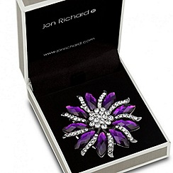 Jon Richard - Purple navette and crystal embellished brooch