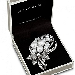 Jon Richard - Pearl cluster crystal bow brooch