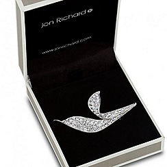 Jon Richard - Crystal encased silver leaf brooch