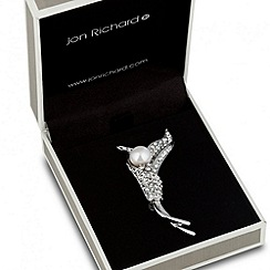 Jon Richard - Pearl and crystal silver leaf brooch