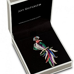 Jon Richard - Multicoloured enamel peacock brooch