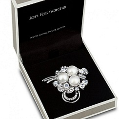 Jon Richard - Triple pearl and crystal floral brooch