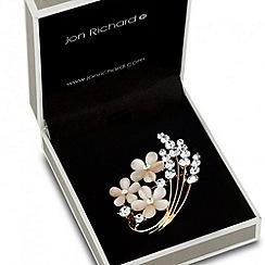 Jon Richard - Triple flower and crystal spray brooch