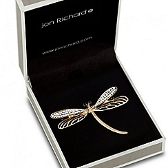 Jon Richard - Crystal and filigree effect dragonfly brooch