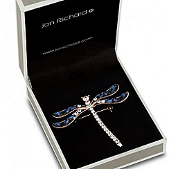 Jon Richard - Blue crystal embellished dragonfly brooch