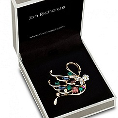 Jon Richard - Multicoloured crystal encased swan brooch