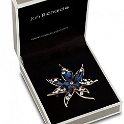 Jon Richard - Blue crystal set gold floral brooch