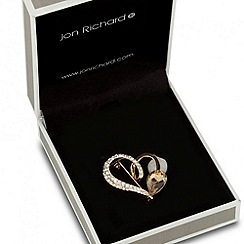Jon Richard - Orange cubic zirconia heart brooch