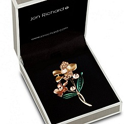Jon Richard - Double orange enamel flower brooch