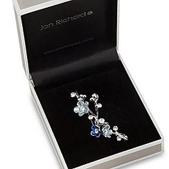 Jon Richard - Blue enamel and crystal floral sprig brooch