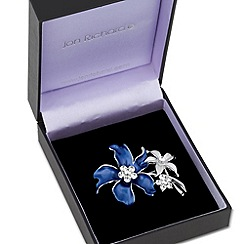 Jon Richard - Double blue crystal flower brooch