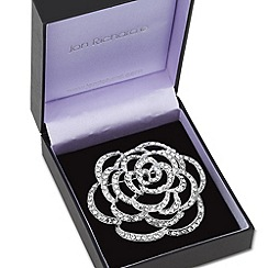 Jon Richard - Large filigree crystal rose brooch
