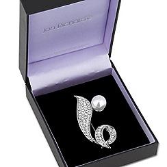 Jon Richard - Pearl set crystal embellished swirl brooch