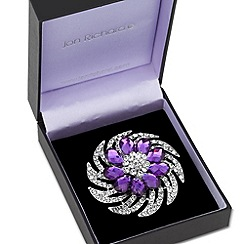 Jon Richard - Purple peardrop and crystal swirl brooch
