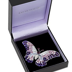 Jon Richard - Crystal embellished purple butterfly brooch