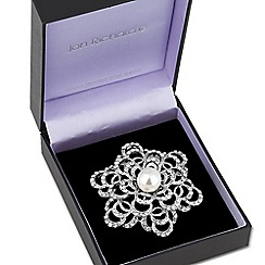 Jon Richard - Pearl set curved filigree flower brooch