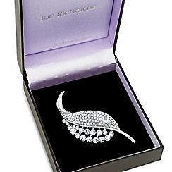 Jon Richard - Crystal embellished silver leaf brooch