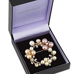 Jon Richard - Multicoloured pearl wreath brooch