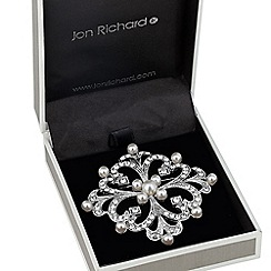 Jon Richard - Pearl and crystal diamond shape brooch