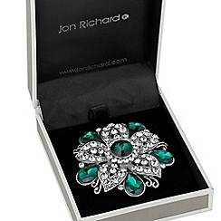 Jon Richard - Green peardrop embellished flower brooch
