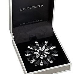 Jon Richard - Jet navette embellished flower brooch