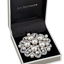 Jon Richard - Large pearl and crystal cluster heart brooch