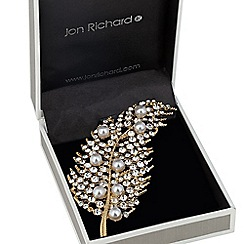 Jon Richard - Crystal and pearl embellished palm brooch