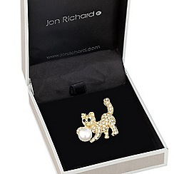 Jon Richard - Gold crystal cat and pearl brooch