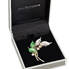 Jon Richard - Tonal green enamel leaf brooch