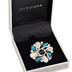 Jon Richard - Teal and cats eye effect wreath brooch
