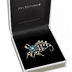 Jon Richard - Teal crystal flower spray brooch
