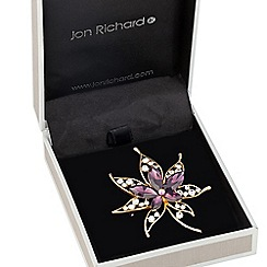 Jon Richard - Purple crystal maple leaf brooch