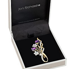 Jon Richard - Floral and purple heart spray brooch