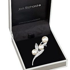 Jon Richard - Triple pearl and crystal leaf brooch