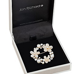 Jon Richard - Cats eye effect floral and crystal wreath brooch