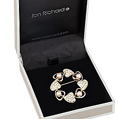 Jon Richard - Pearl and crystal heart wreath brooch