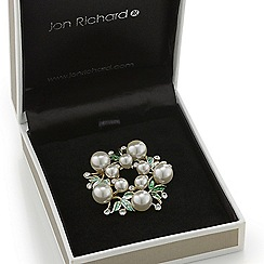 Jon Richard - Green enamel leaf and pearl scarf clip and brooch