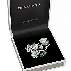 Jon Richard - Green enamel flower brooch