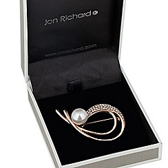 Jon Richard - Pearl and crystal rose gold loop brooch