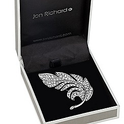 Jon Richard - Crystal embellished feather brooch