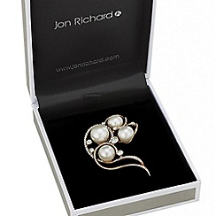 Jon Richard - Rose gold swirl pearl brooch