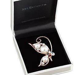 Jon Richard - Oversized pearl and crystal butterfly brooch