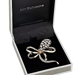 Jon Richard - Polished gold crystal encased bow brooch